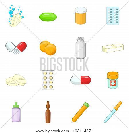 Medicine drugs icons set. Cartoon illustration of 16 medicine drugs vector icons for web