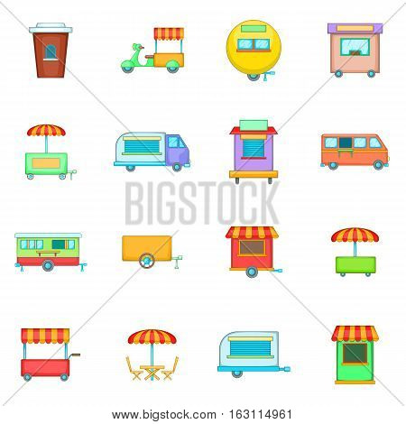 Street food kiosk vehicle icons set. Cartoon illustration of 16 street food kiosk vehicle vector icons for web