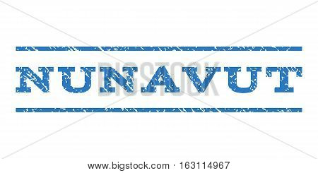 Nunavut watermark stamp. Text tag between horizontal parallel lines with grunge design style. Rubber seal stamp with dirty texture. Vector smooth blue color ink imprint on a white background.