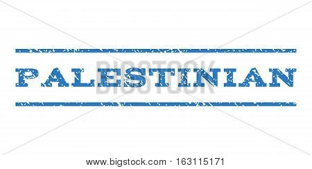 Palestinian watermark stamp. Text tag between horizontal parallel lines with grunge design style. Rubber seal stamp with scratched texture. Vector smooth blue color ink imprint on a white background.