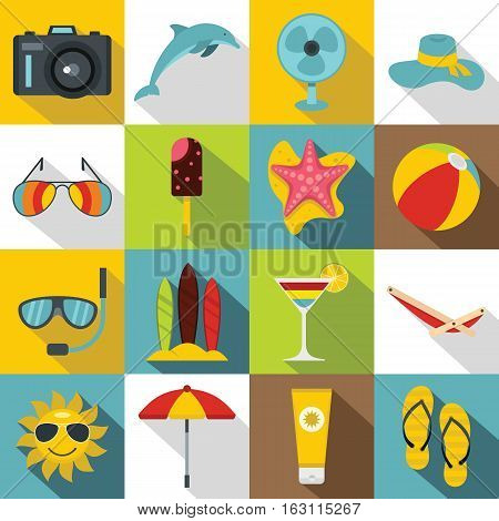 Summer rest icons set. Flat illustration of 16 summer rest vector icons for web