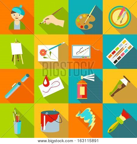 Painter artist tools set. Flat illustration of 16 painter artist tools vector icons for web