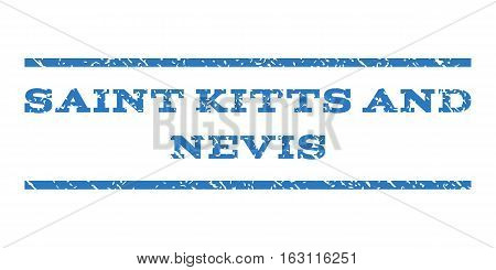 Saint Kitts and Nevis watermark stamp. Text tag between horizontal parallel lines with grunge design style. Rubber seal stamp with dust texture.