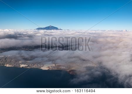 Mountain Above Clouds - Island Aerial