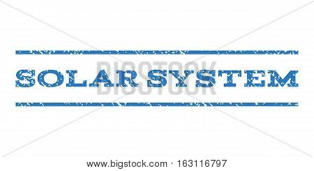 Solar System watermark stamp. Text caption between horizontal parallel lines with grunge design style. Rubber seal stamp with dirty texture. Vector smooth blue color ink imprint on a white background.