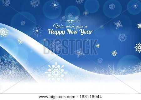 Vector We wish you a Happy New Year abstract dark blue background with light wave and snowflakes.