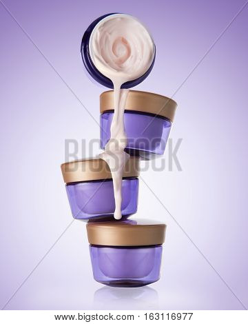 Four jars of cosmetic, moisturizing, anti-aging cream stand on each other on the gradient purple background