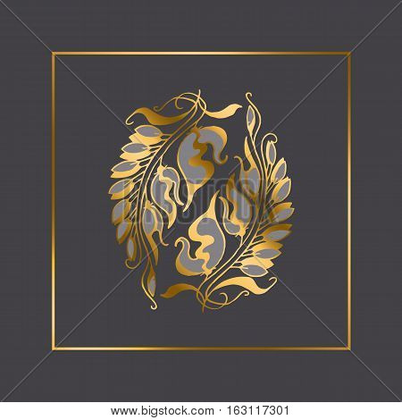 gold Art Nouveau style vector illustration element