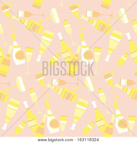 seamless pattern with sparkling alcohol beverage. celebration repeatable motif with golden champagne. assorted sparkling wine glasses and bottles. champagne concept flat vector illustration.