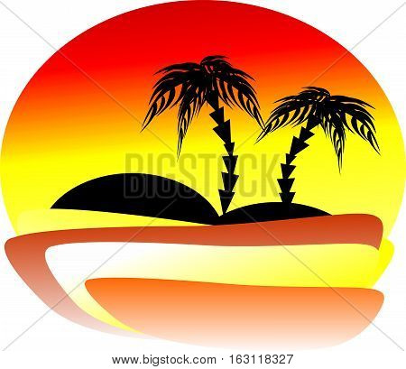 The magnificent sunset at the seaside with two palm trees on the far island. Romantic landscape.