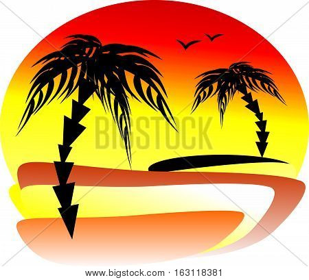 The magnificent sunset at the seaside with two palm trees on different banks. Silhouettes of seagulls on a summer sky