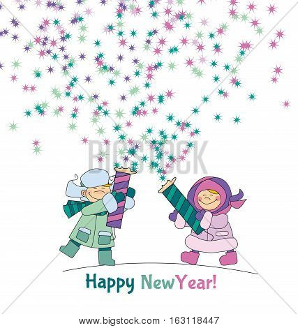 Little boy and girl shooting firecracker or fireworks. Adorable kids in winter clothes playing outdoor. Christmas celebration children cartoon vector illustration. Simple cute xmas motif.