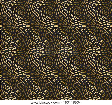 gold rice seamless pattern. festive metal textured ornament. greetings and celebration background with gold grains
