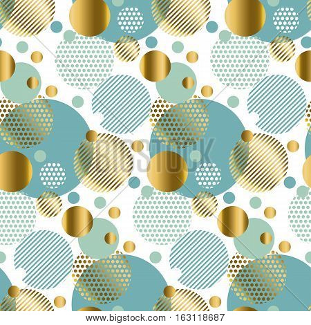 modern light gold seamless pattern with circles. Xmas background. Christmas backdrop. Winter pattern. Season vector illustration. Holiday pattern
