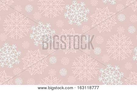 Vector illustration, template for Christmas greeting. Seamless pale tender color pattern of abstract geometry snow flakes.