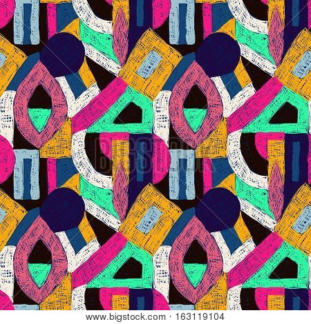 Geometric pop art pattern. Retro style doodles ornament. Seamless creative texture for fabric design interior elements wallpapers backgrounds and printed products.