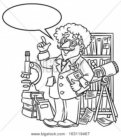 Coloring picture of funny scientist or inventor. An old man in glasses with books, folders, microscope and telescope, raised index finger. Profession series. Childrens vector illustration.