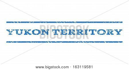 Yukon Territory watermark stamp. Text tag between horizontal parallel lines with grunge design style. Rubber seal stamp with scratched texture.