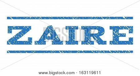 Zaire watermark stamp. Text tag between horizontal parallel lines with grunge design style. Rubber seal stamp with dust texture. Vector smooth blue color ink imprint on a white background.