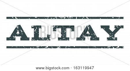 Altay watermark stamp. Text tag between horizontal parallel lines with grunge design style. Rubber seal stamp with unclean texture. Vector soft blue color ink imprint on a white background.