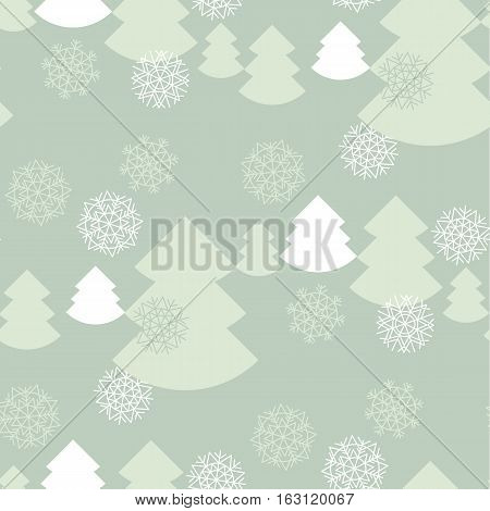 elegant pale color christmas background. xmas faminin style seamless pattern. vector illustration of winter celebration with snowflakes and fir tree
