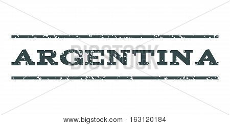 Argentina watermark stamp. Text caption between horizontal parallel lines with grunge design style. Rubber seal stamp with unclean texture. Vector soft blue color ink imprint on a white background.