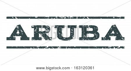 Aruba watermark stamp. Text tag between horizontal parallel lines with grunge design style. Rubber seal stamp with scratched texture. Vector soft blue color ink imprint on a white background.