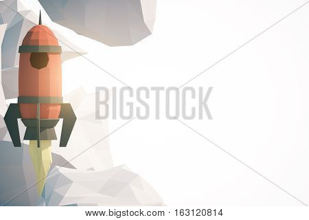 Abstract polygonal spaceship and clouds on white background with copy space. Startup concept. 3D Rendernig poster