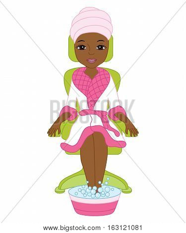 Vector African American spa girl in white and pink robe