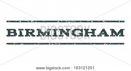 Birmingham watermark stamp. Text tag between horizontal parallel lines with grunge design style. Rubber seal stamp with unclean texture. Vector soft blue color ink imprint on a white background.