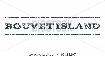 Bouvet Island watermark stamp. Text caption between horizontal parallel lines with grunge design style. Rubber seal stamp with dirty texture. Vector soft blue color ink imprint on a white background.