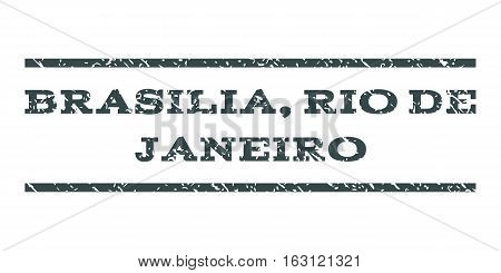 Brasilia, Rio De Janeiro watermark stamp. Text caption between horizontal parallel lines with grunge design style. Rubber seal stamp with scratched texture.
