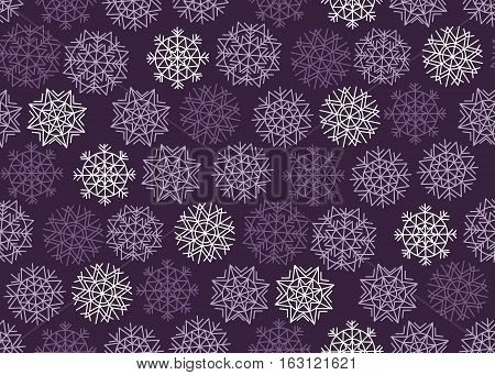 Violet purple color background snow fabric sample. Christmas snowflakes seamless pattern. New Year festive geometric pattern swatch vector illustration.