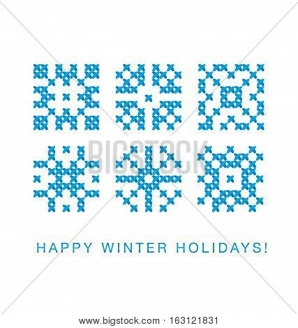 cross stitch vector ornament. traditional embroidery white and blue pattern. winter motif for card and greetings. peasant rustic style linen stitching scheme