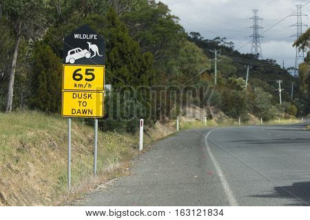 Tasmania Australia - December 26 2016: Wildlife protection road side sign