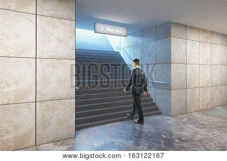 Success concept. Businessperson climbing illuminated underground staircase with 'way out' sign. 3D Rendering