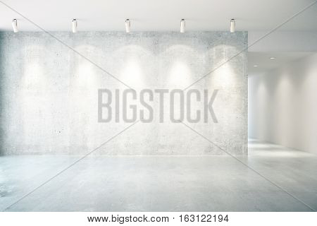 Concrete Interior With Empty Wall Front