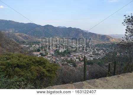 The municipality of Chalma and Malinalco as seen from the mountain tops. Mexico