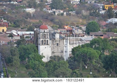 The church at Chalma (known for miracles) seen from the top of Malinalco (archeological site), Mexico