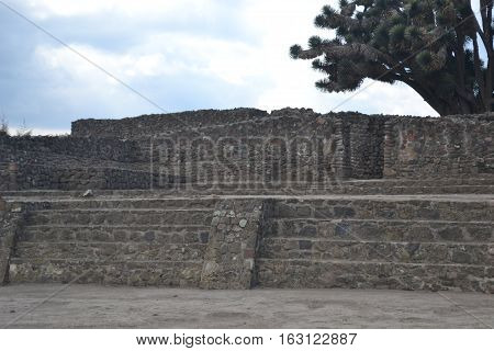 ruins Mesoamerican archaeological site Sultepec-Tecoaque known for its circular