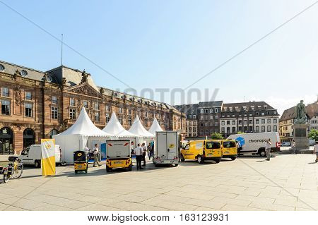STRASBOURG; FRANCE - JUN 24; 2016: Electric environmentally friendly range of La Poste CHRONOPOST; DPD delivery vans in center of the city. Chronopost and DPD is part of French group La poste