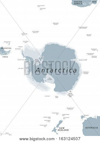 Antarctica political map. The Antarctic polar region around the Earth South Pole with islands and ice shelves. Gray illustration with English labeling on white background. Vector.