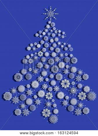 Christmas Tree With Snowflakes Over Blue