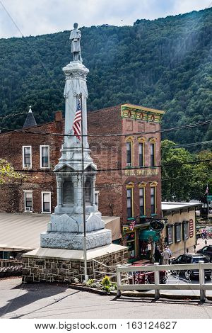 JIM THORPE PENNSYLVANIA - SEPTEMBER 28: The historic Soldiers and Sailors Memorial dedicated in1886 as seen on September 28 2016 in Jim Thorpe Pennsylvania.