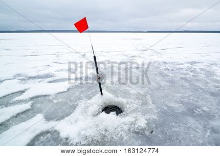 Ice Hole for a winter ice fishing