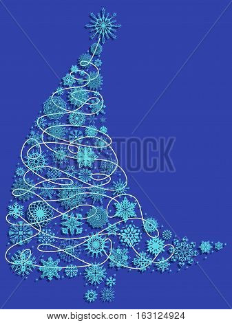 Curved Christmas Tree With Snowflakes Over Blue