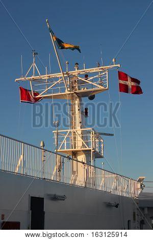 Denmark Scandinavia - October 4 2016: flags on the ferry boat from Frederikshavn Denmark to Gothenburg Sweden Scandinavia.