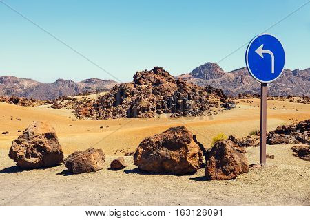 Road Sign Near El Teide Volcano In Tenerife, Canary Islands, Spain