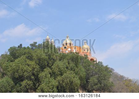 Our Lady of the Remedies church stands on the top of what looks like an ordinary hill but is really the Great pyramid of Cholula, Puebla Mexico