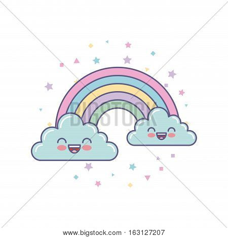 cute clouds and rainbow drawing vector illustration design
